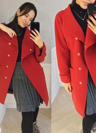 Пальто на запах красное шикарное шерсть