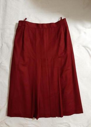 Шерстяная юбка бордо бургундия  плиссе в складку peter hahn woolmark большой размер