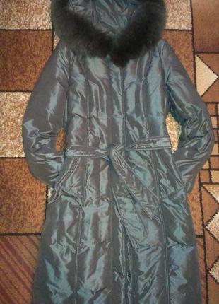 Пуховик-пальто с натуральным мехом snow owl