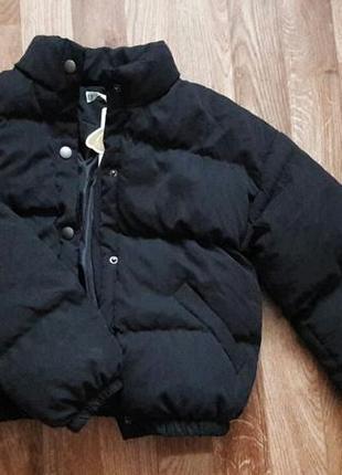 Черная куртка женская, курточка короткая пуховик укороченный,дутая, объемная