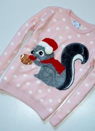 Классный теплый свитер с белочкой