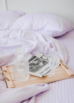Лиловое постельное белье из турецкого страйп-сатина