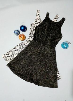 Блестящее нарядное платье с открытой спинкой  - тонкий трикотаж