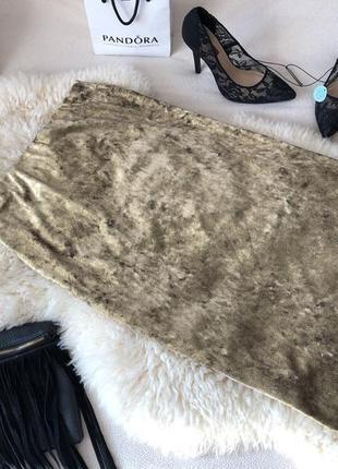 Крутая и неповторимая велюровая золотая юбка миди карандаш по фигуре на р.м/л🌹❤️💋