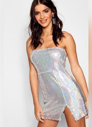 Платье мини в пайетках, блестящее новогоднее, вечернее
