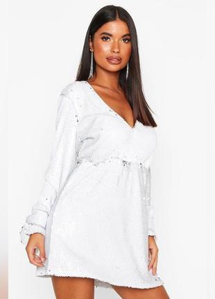 Платье в пайетках белое asos, блестящее чёрное новая коллекция boohoo