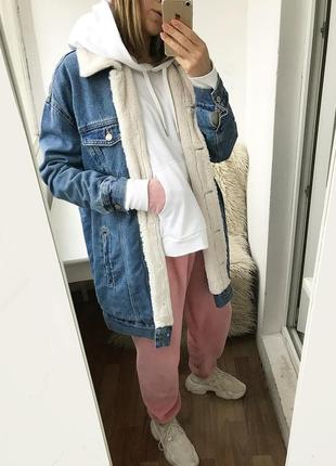 Winter in american style / теплая зимняя джинсовая oversize куртка на меху