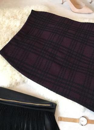 Стильная стрейчевая тепленькая юбка в квадраты марсала на р.м/л...🌹❤️👠