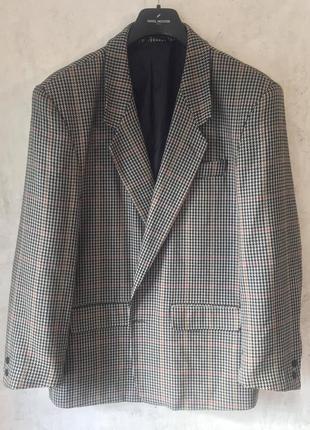 Мужской пиджак, клетка, гусинная лапка, 100% шерсть, стиль, качество, woolmark