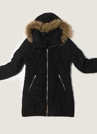 Зимнее женское черное пальто удлиненная куртка на синтепоне h&m с капюшоном и мехом парка