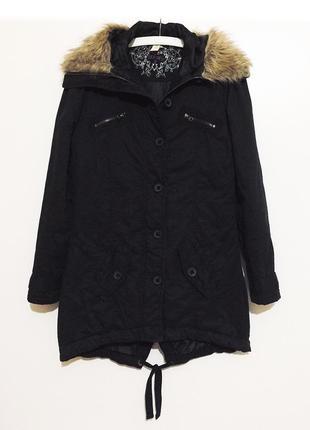 Женская утепленная зимняя черная парка с капюшоном и мехом куртка курточка denim co
