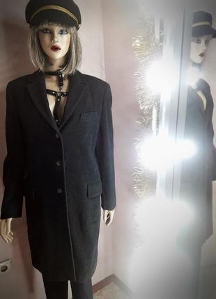Итальянское новое шерстяное пальто черное классическое оверсайз теплое