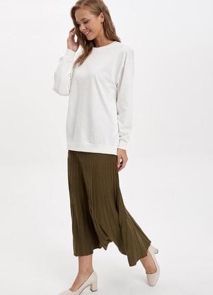 Вязанная юбка плиссе , цвет хаки
