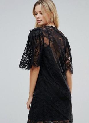 Черное кружевное платье asos мини безумно красивое рукава широкие