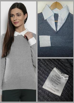 🔴🔴комбинированная кофта-рубашка/свитер с рубашкой обманкой/хлопок🔴🔴