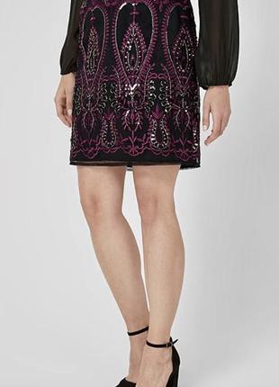 Шикарная прямая юбка с вышивкой и пайетками