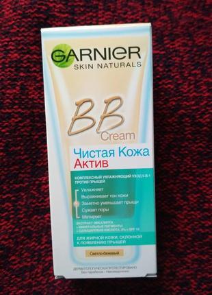 Комплексный увлажняющий bb-крем «чистая кожа актив» garnier skin naturals светло бежевый