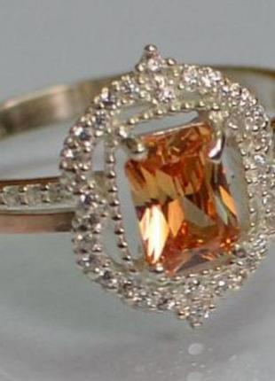 Кольцо серебряное с золотыми вставками 154к