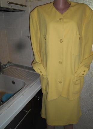 #goldix#винтажный лимонный костюм шерсть #жакет и юбка #большой размер 18#