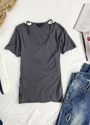 Мягчайшая футболка темно-серого цвета оригинального кроя ts 1949165
