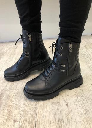 Зимние кожаные ботинки на массивной платформе
