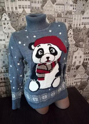 Шерстяной рождественский новогодний женский свитер с оленями,р.42-48