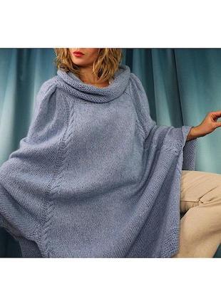 Пончо свитер шерсть голубой ангора оверсайз
