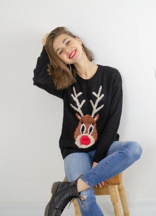 New look милый новогодний свитер, кофта к новому году, черный джемпер праздничный