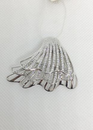 Новая шикарная родированая серебряная подвеска куб.цирконий серебро 925 пробы