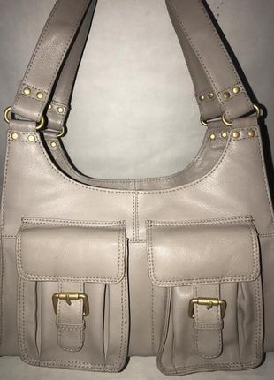 Кожаная объемная дизайнерская сумочка на плечо tommy & kate, англия