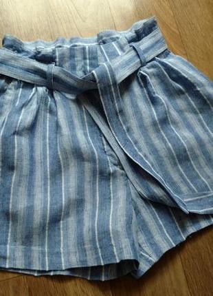 Летнии льняные шорты с высокой талией