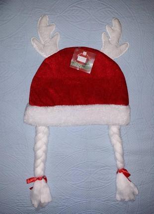 Новогодняя шапка, детская шапка с косичками, шапка для девочки,шапка снегурочки