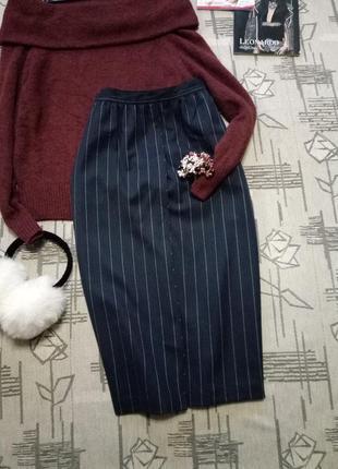 Очень стильная шерстяная юбка в полоску с карманами , teutloff, размер 10-12