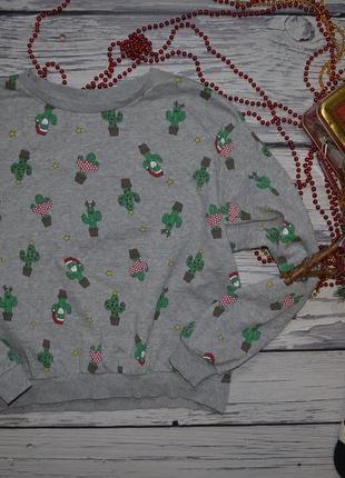 М h&m обалденная фирменная кофта реглан батник новогодний нг новогодние кактусы