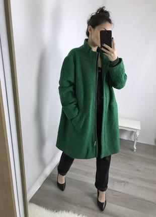 Суперское яркое зеленое пальто! шерсть!