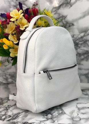 Белый кожаный рюкзак италия