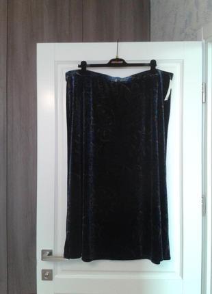 Шикарная велюровая юбка бренд covington сша большой размер батал