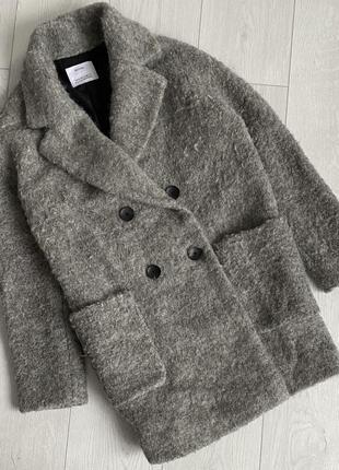 Серое пальто oversize bershka/тёплое пальто кокон bershka