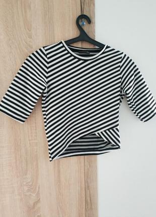 Кофта асмиметрия полосатая кроп топ свитер футболка