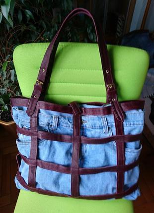 Огромная кожаная сумка-клетка_сумка-трансформер_сумка 2-в-1