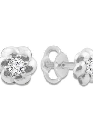 Золотые серьги гвоздики с бриллиантами 0,18 карат. белое золото пусеты
