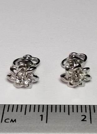Золотые серьги гвоздики с бриллиантами 0,16 карат белое золото пусеты3 фото