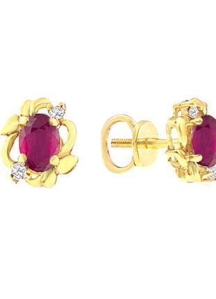 Золотые серьги гвоздики с рубинами и бриллиантами 0,06 карат желтое золото