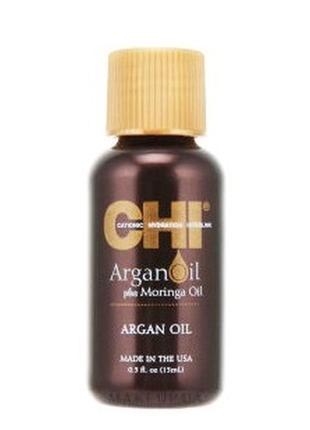 Восстанавливающее масло для волос chi argan oil plus moringa oil 15 ml
