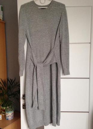 Тёплое платье миди с завязками шерсть и ангора
