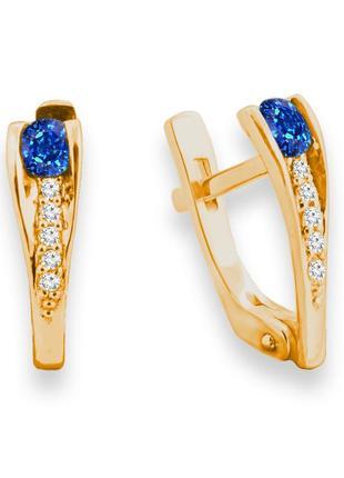 Золотые серьги с сапфирами и бриллиантами 0,08 карат. желтое золото