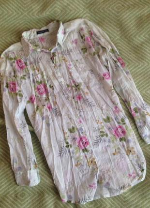 Мятная блуза в цветочный принт