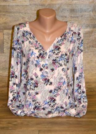 Лёгкая персиковая блуза в цветы размер xs