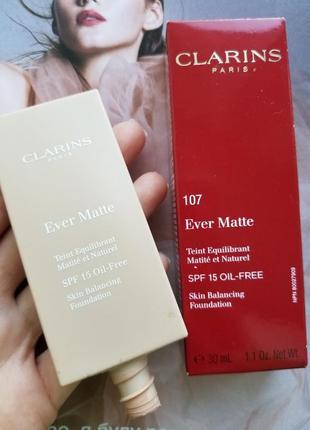 Тональный крем clarins ever matte skin balancing foudation spf 15, oil-free