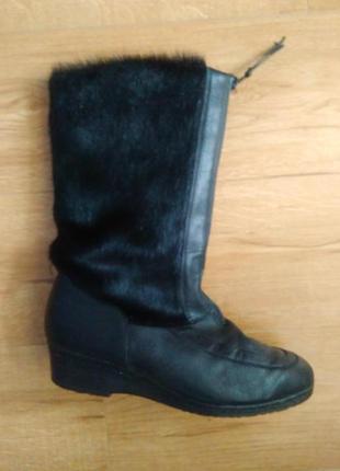 Жіночі зимові шкіряні чоботи з нерпою/кожаные ботинки с натуральным мехом
